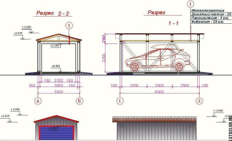 Проект каркасного гаража из ЛСТК.