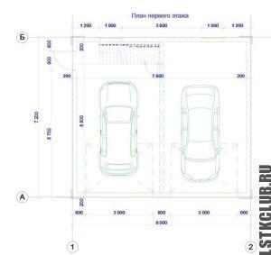 План первого этажа гаража из ЛСТК