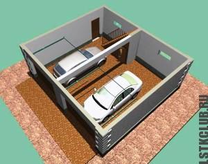 Трехмерный проект гаража из ЛСТК с надстройкой