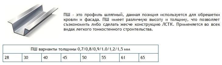 ПШ-профиль ЛСТК (шляпный)