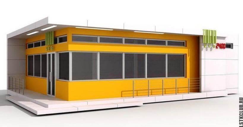 Эскизы модульного магазина в графической программе