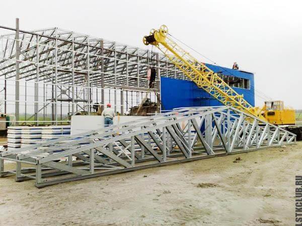 Процесс строительства каркаса ЛСТК