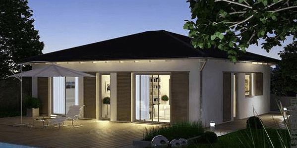 Проект одноэтажного каркасного дома ЛСТК (S=91 кв.м)