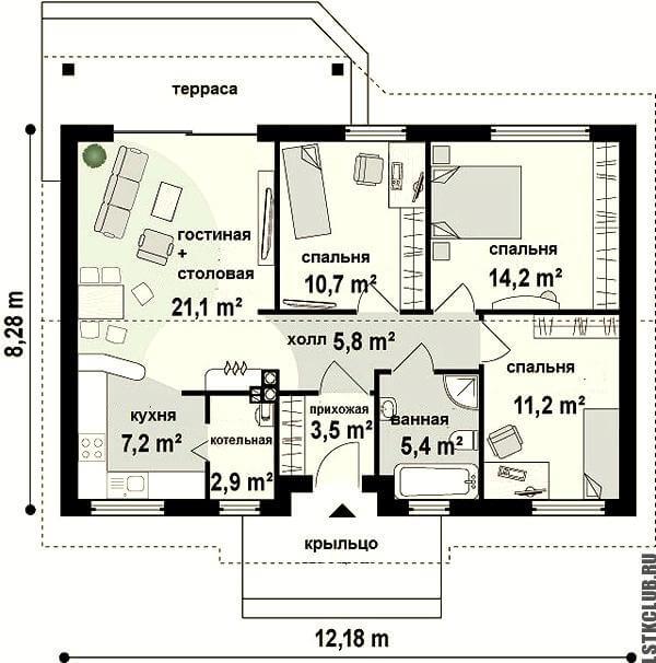 Схема внутреннего устройства дома