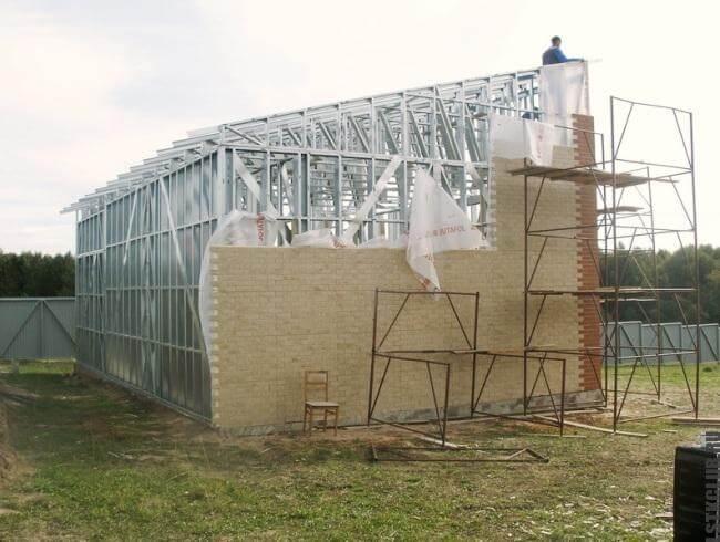 Монтаж фасада ЛСТК здания
