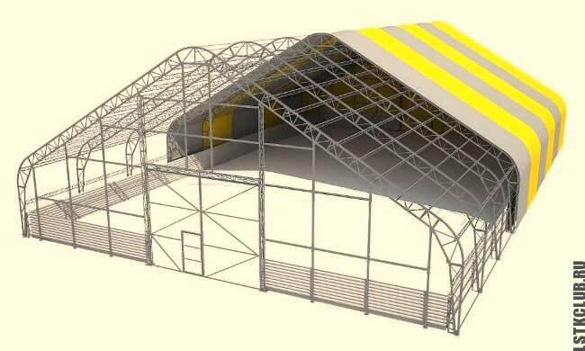 Проект каркасного склада с покрытием ПВХ материалом