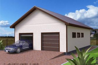 Визуальный проект гаража из ЛСТК на два автомобиля