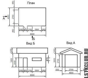 Схема гаража из ЛСТК (4 на 6 м.)