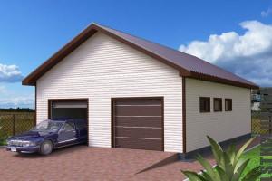 Визуальный проект готового гаража из ЛСТК на две машины.