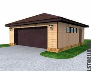 Проект гаража в графической программе на один автомобиль.