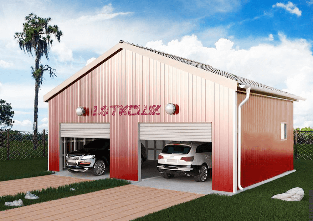 Графический проект гаража из ЛСТК на два автомобиля