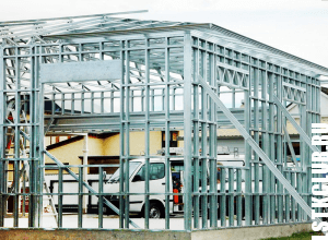Здание из ЛСТК - фото на этапе монтажа