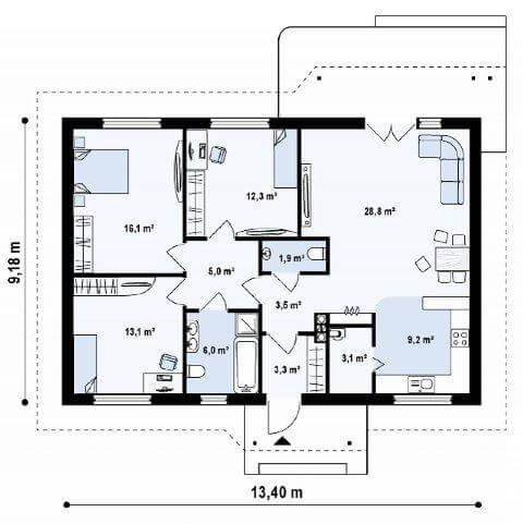 Проект дома из готового комплекта ЛСТК