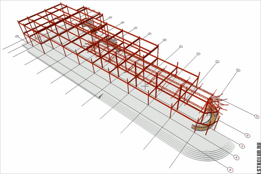 Трёхмерный проект ЛСТК магазина с кафе