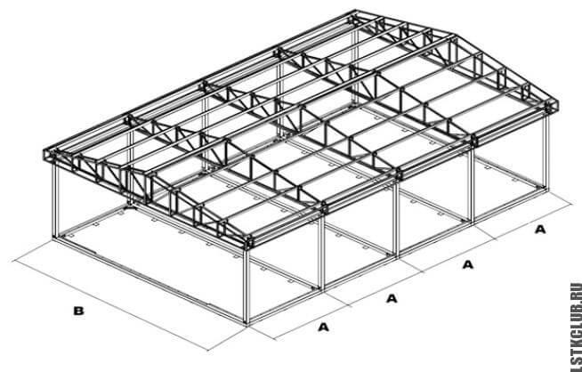 Проект металлической конструкции с односкатной крышей