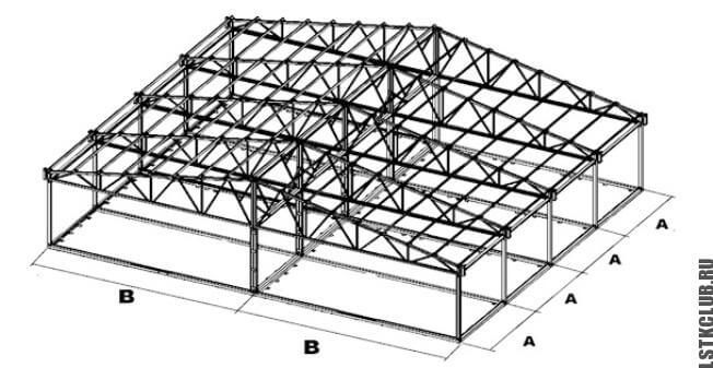 Проект металлической конструкции с двускатной крышей
