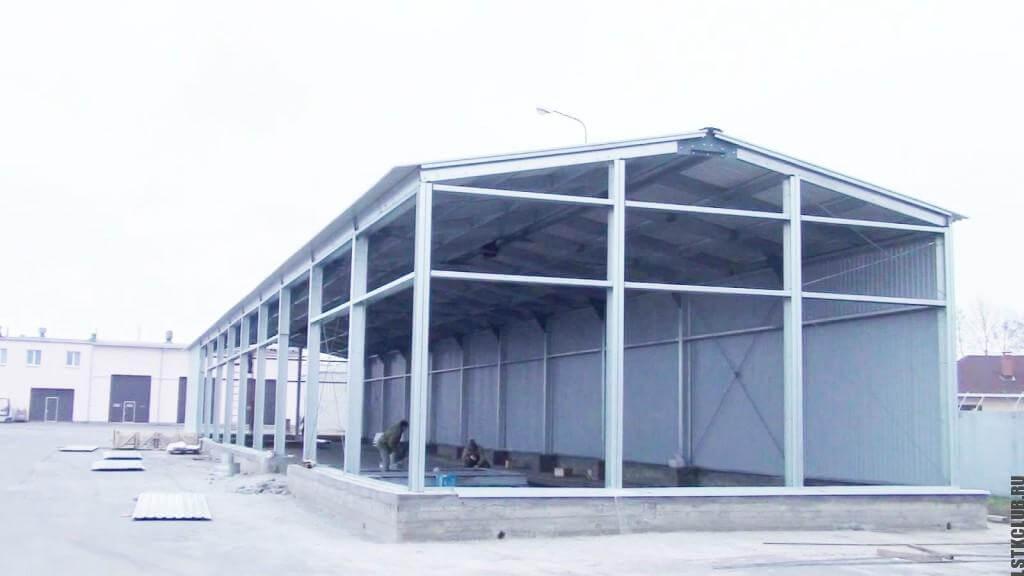 Процесс строительства ангара ЛСТК