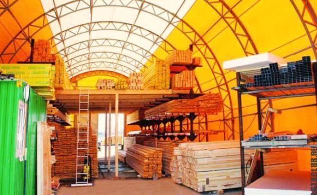 Применение ангара для хранения строительных материалов