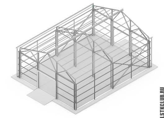 Каркас склада в 3D визуализации