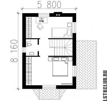 Схема дома второго этажа