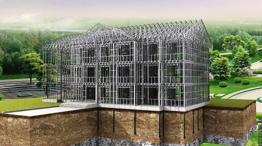 Трехмерная визуализация многоэтажной ЛСТК конструкции