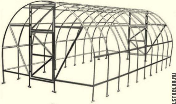 Каркас металлической теплицы в проекте