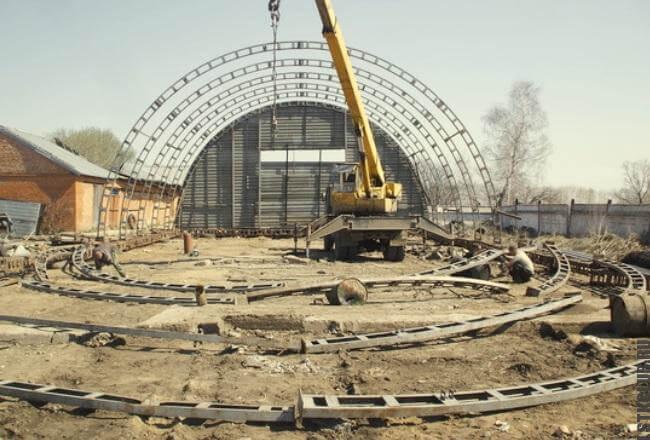 Строительство арочного ангара из стали