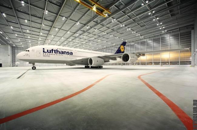 Аэродром Люфтханса из металлических конструкций построенный по технологии ЛСТК