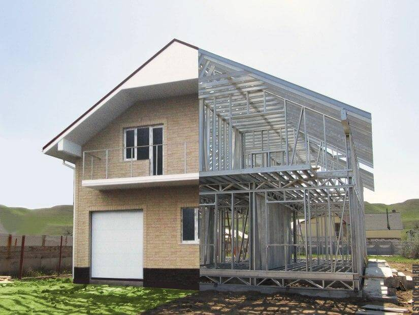Дом из каркаса в проекте и в живую