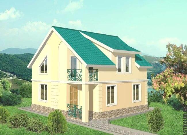 Проект дома из металлического каркаса (2 этажа)