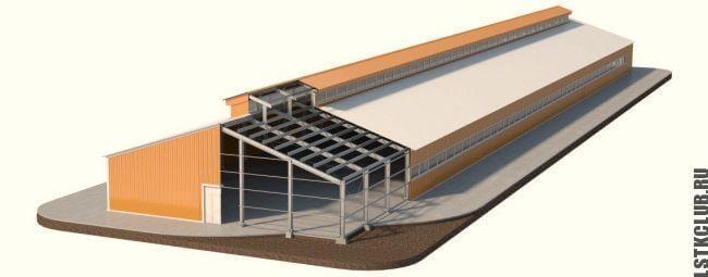 Трехмерный проект здания из металлоконструкций