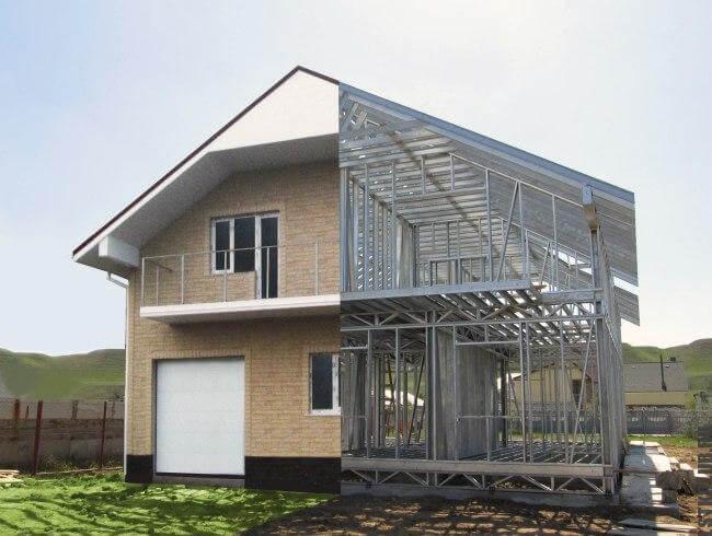 Проект дома из ЛСТК с визуализацией части каркаса