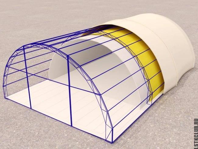 Проектная схема устройства тентовой конструкции №2 (арочный вариант)