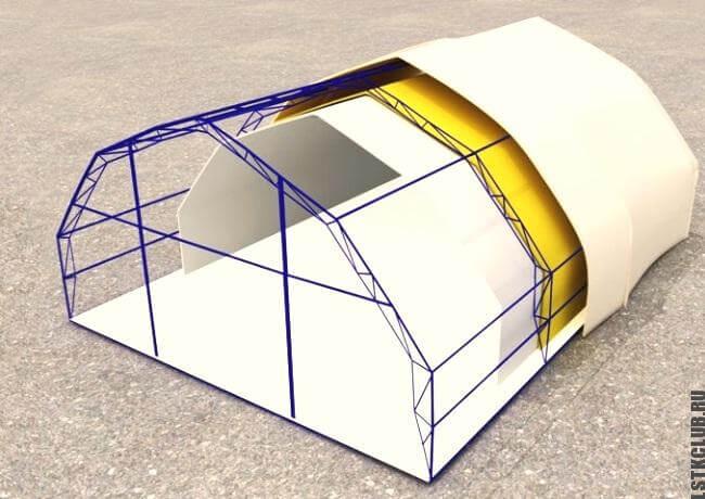 Проектная схема устройства тентовой конструкции №1