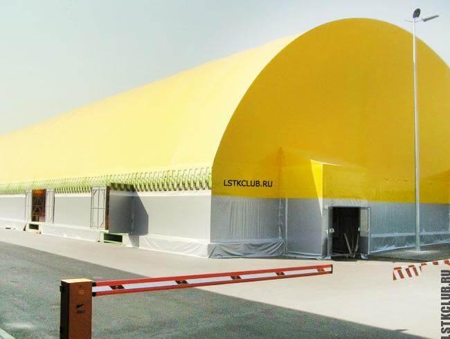 Промышленный склад из каркаса ЛМК с обшивкой тентовой высокопрочной тканью.